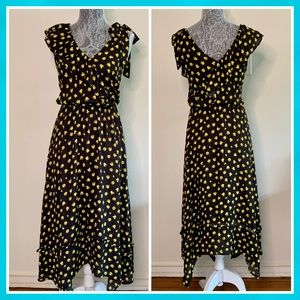 Who What Wear Black/ Yellow Floral Maxi Dress